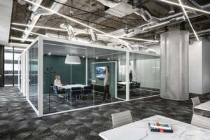Freestanding Glass Meeting Room with White Frame