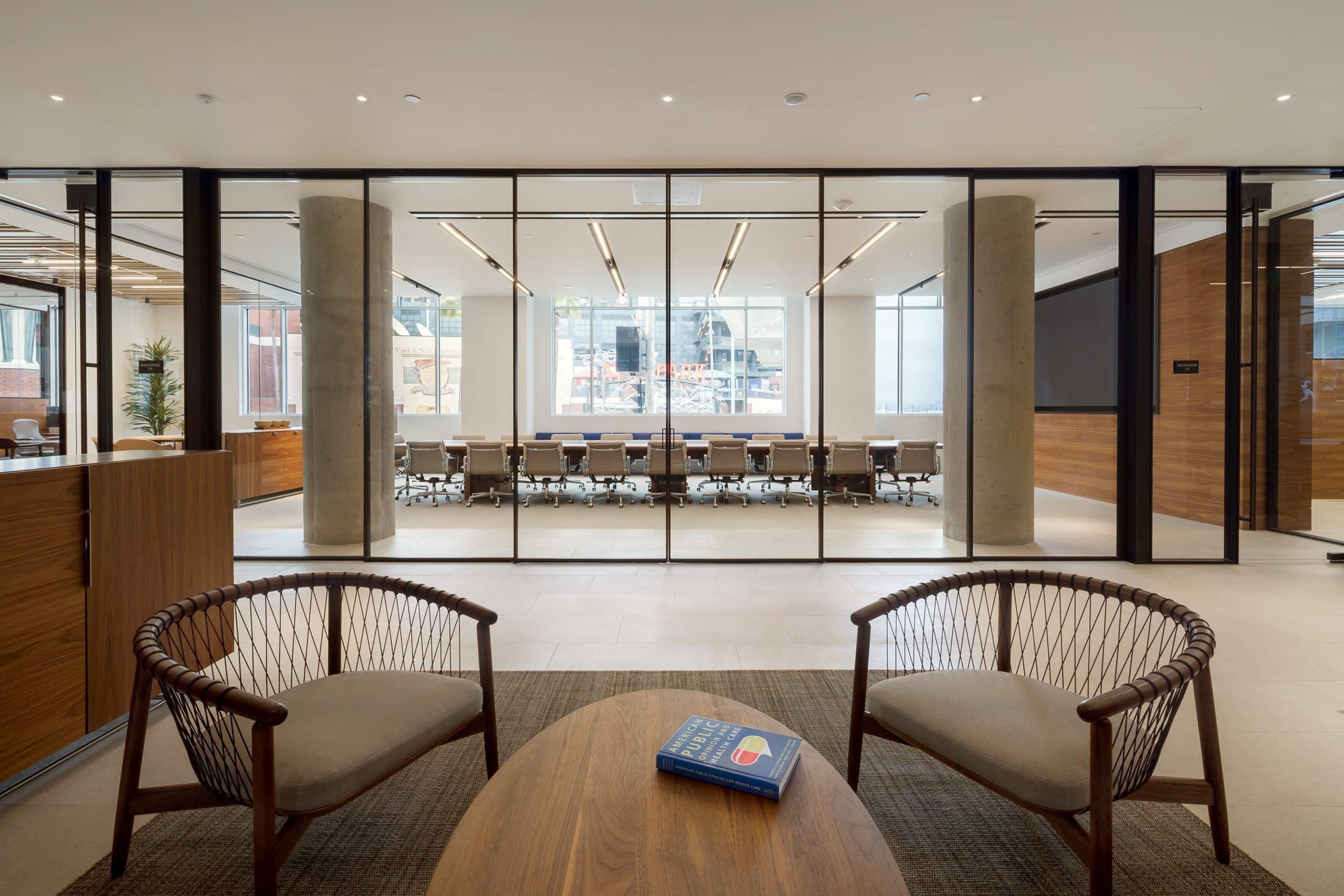 minimal sliding glass wall